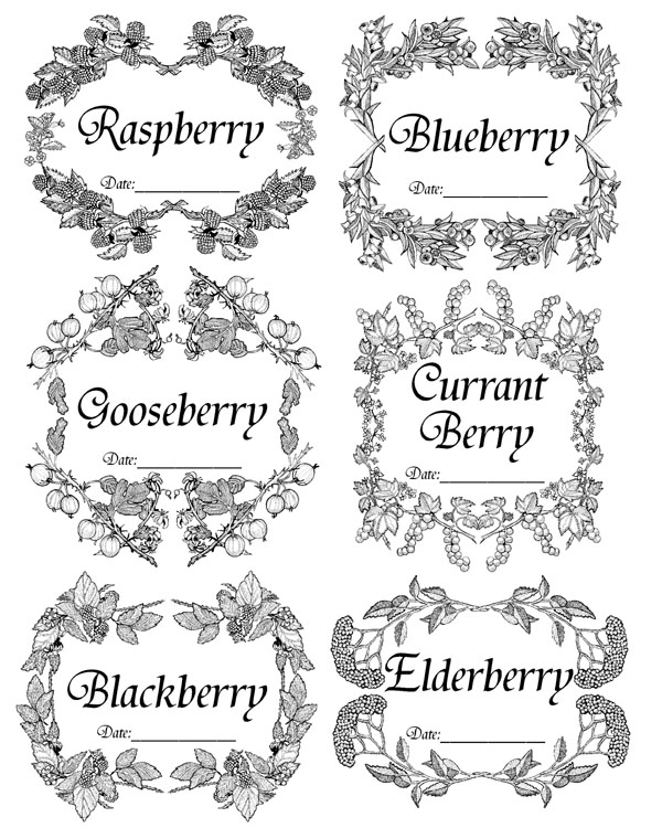 Berry Labels Unmounted Rubber Stamp Sheet