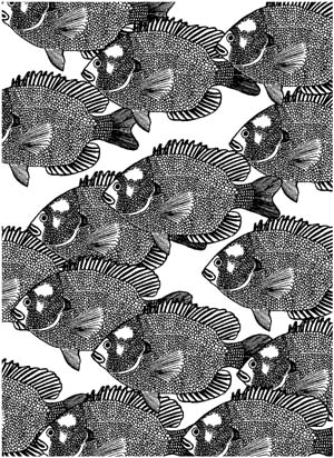 Fish Small Background Unmounted Rubber Stamp