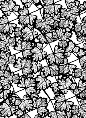 Columbine Leaves Background Unmounted Rubber Stamp