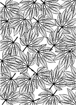 Aralia Leaves Background Unmounted Rubber Stamp