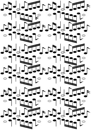 Musical Notes Background Unmounted Rubber Stamp