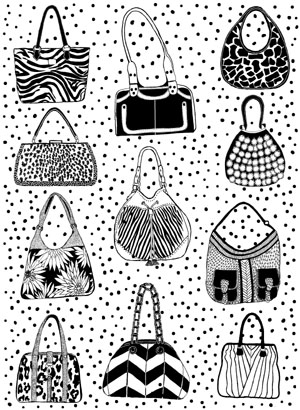 Purses and Handbags Background Unmounted Rubber Stamp