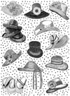 Hats Background Unmounted Rubber Stamp