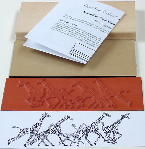 Giraffe Border Unmounted Rubber Stamp Mounting Kit