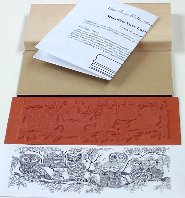 Owls Border Unmounted Rubber Stamp Mounting Kit