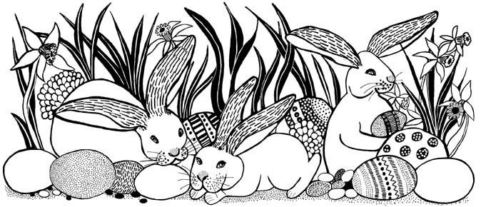 Bunny Rabbits Easter Border Unmounted Rubber Stamp