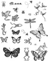 Butterflies and Frogs Unmounted Rubber Stamp Sheet