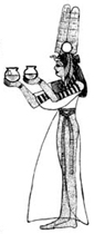 Egyptian Goddess with Bowls Wood Mounted Rubber Stamp