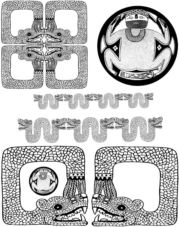 Feathered Serpents (Mayan) Unmounted Rubber Stamp Sheet