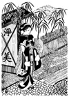Asian Lady Walking Over Stream Unmounted Rubber Stamp