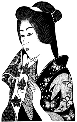 Asian Lady Holding Scarf Unmounted Rubber Stamp