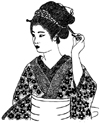 Asian Lady Holding Hair Pin Unmounted Rubber Stamp