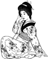 Asian Lady in Light Colored Kimono Unmounted Rubber Stamp