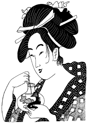 Asian Lady Admiring Koi Fish Unmounted Rubber Stamp