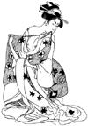 Asian Lady with Kitten Unmounted Rubber Stamp