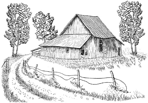 Barn Unmounted Rubber Stamp