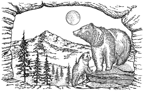 Bear Mountain 5-1/2 inch Unmounted Rubber Stamp