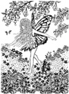 Fairy in Meadow of Flowers Unmounted Rubber Stamp