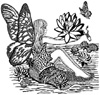 Fairy on a Lily Pad Unmounted Rubber Stamp