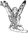 Fairy with Butterflies on Hand Unmounted Rubber Stamp