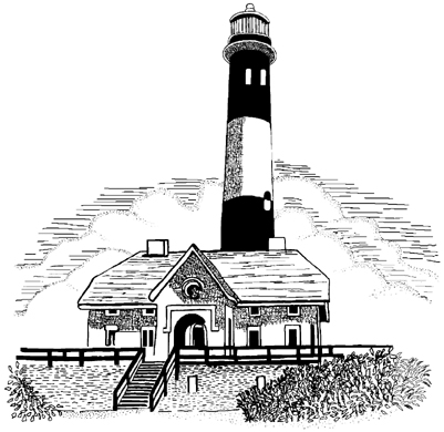 Fire Island New York Lighthouse Unmounted Rubber Stamp