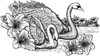 Swans 5-1/2 inch Unmounted Rubber Stamp