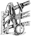 Fence with Rifle and Banjo Unmounted Rubber Stamp