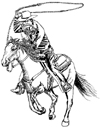 Roping Horse and Cowboy Unmounted Rubber Stamp