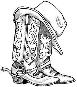 Cowboy Boots and Hat Unmounted Rubber Stamp