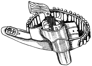 Cowboy Six-Shooter Pistol Unmounted Rubber Stamp
