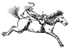 Bronc Rider 2-1/4 inch Unmounted Rubber Stamp