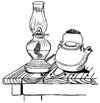 Lantern and Kettle Unmounted Rubber Stamp