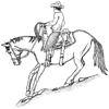 Horse and Cowboy Unmounted Rubber Stamp
