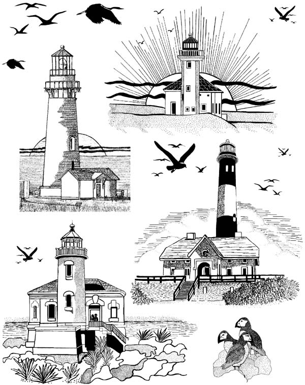 Lighthouses Unmounted Rubber Stamp Sheet