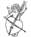 Cupid Playing a Heart Little Stamper