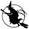 Witch on Broomstick with Moon Little Stamper