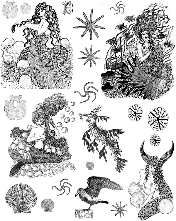 Mermaids Vol 1 Unmounted Rubber Stamp Sheet