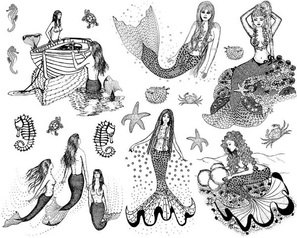 Mermaids Vol 2 Unmounted Rubber Stamp Sheet