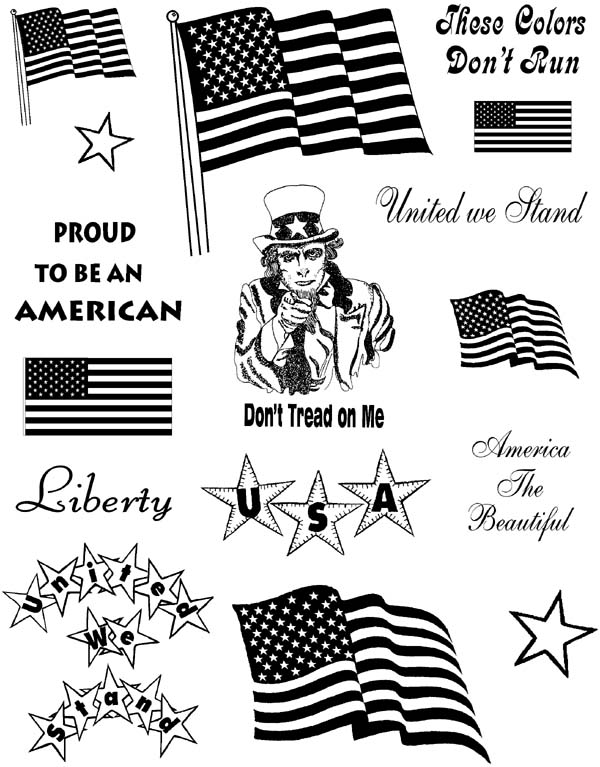 Patriotic Images Unmounted Rubber Stamp Sheet