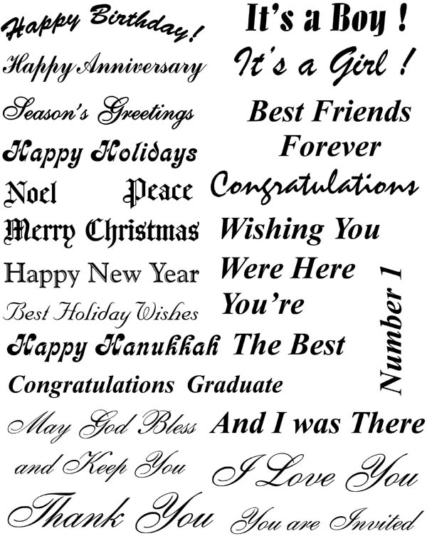 Greeting Card Phrases Unmounted Rubber Stamp Sheet