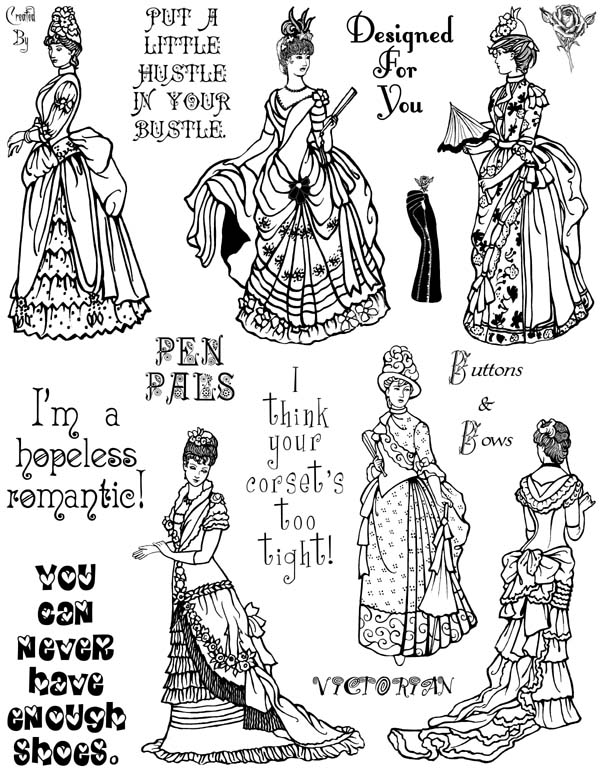 Victorian Ladies Vol 1 Unmounted Rubber Stamp Sheet