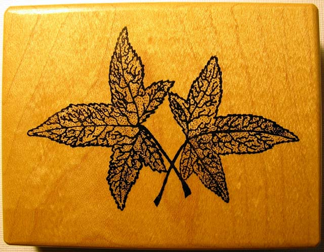 Botanical Fall Leaves Wood Mounted Rubber Stamp