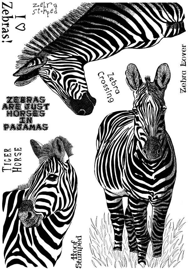Zebras and Phrases Unmounted Rubber Stamp Sheet